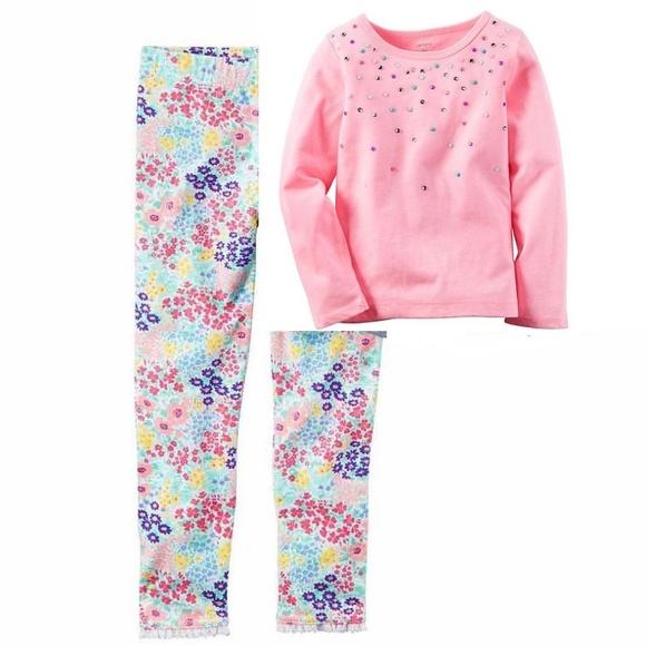 c61d6d2da1f5b Carter's Other - Carter's pink embellished shirt & floral leggings